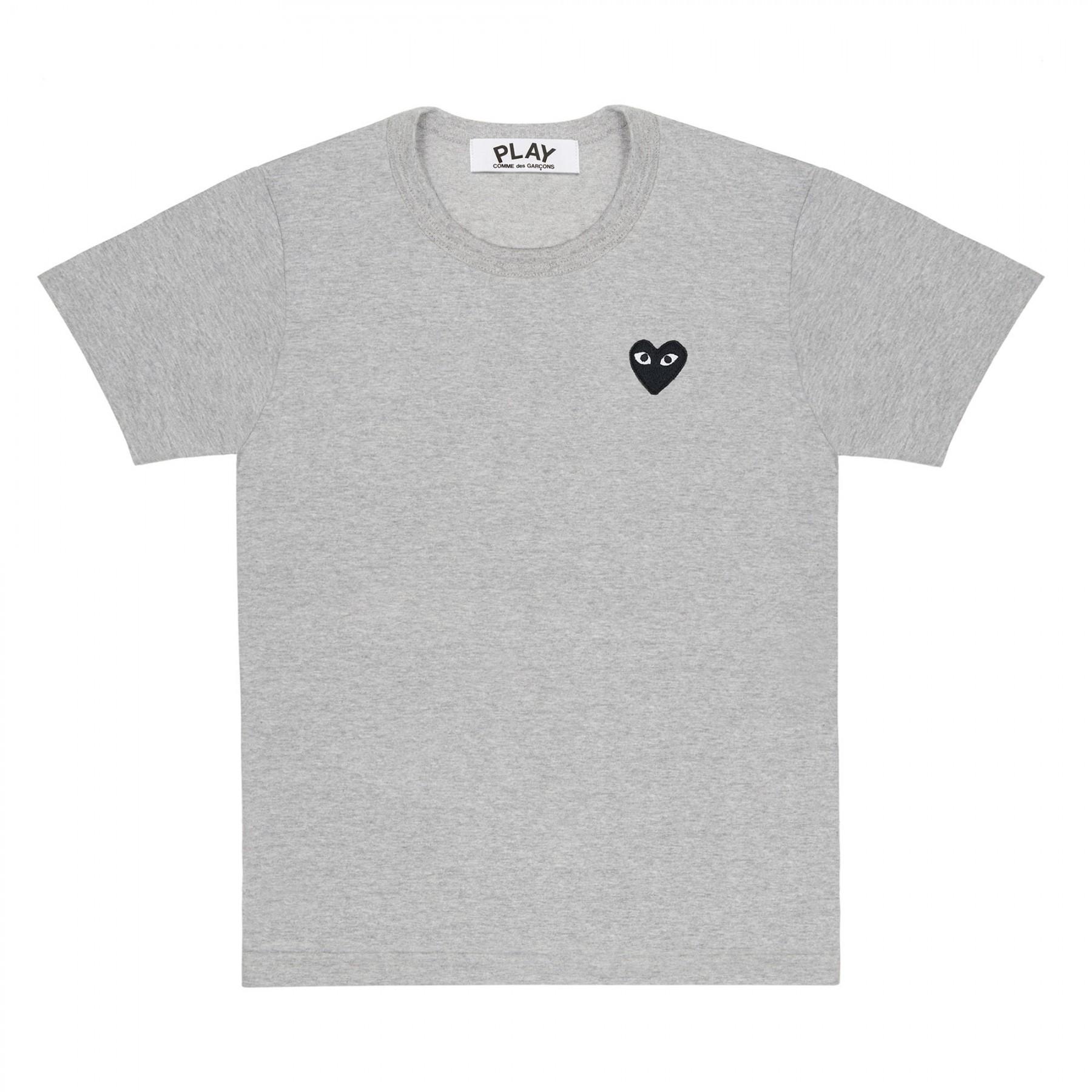 꼼데가르송 PLAY 그레이 티셔츠 원포인트 블랙하트 반소매(남성)