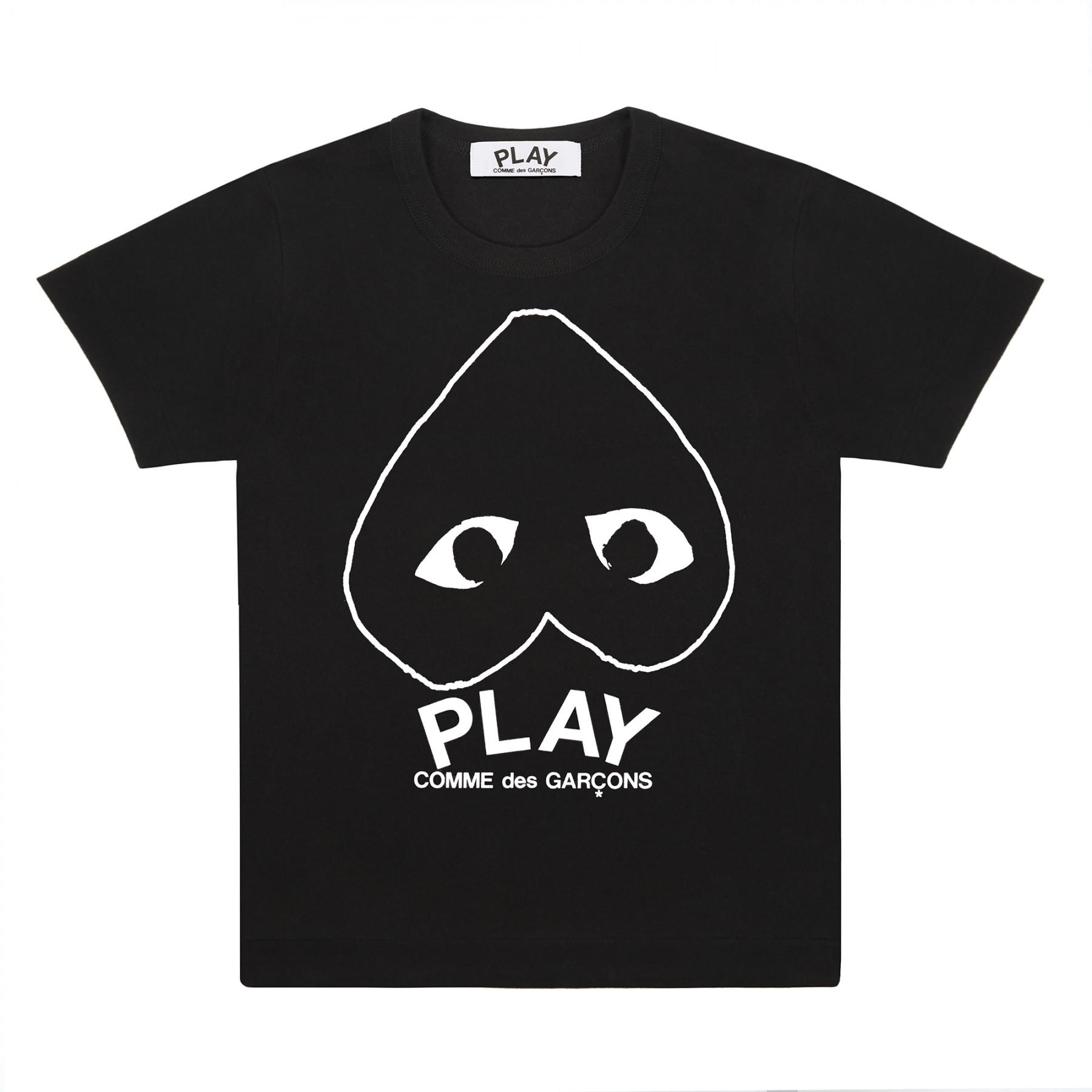 꼼데가르송 PLAY 블랙 티셔츠 화이트라인  하트 (남성)