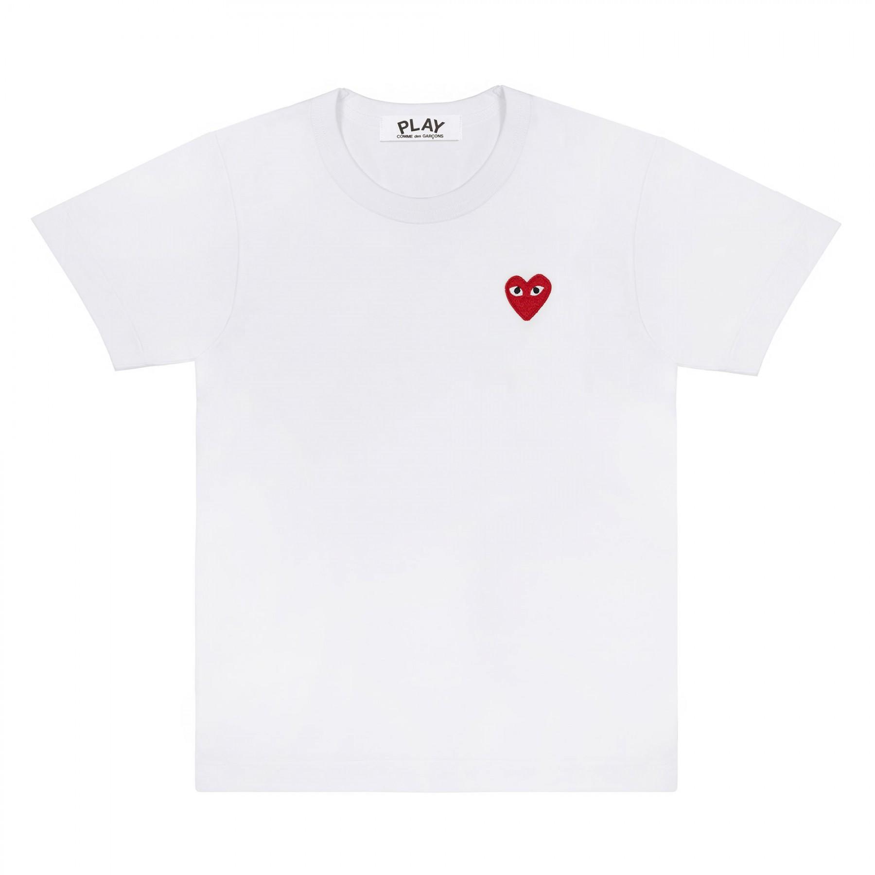 꼼데가르송 PLAY 화이트 티셔츠 원포인트 레드하트 반소매(남성)