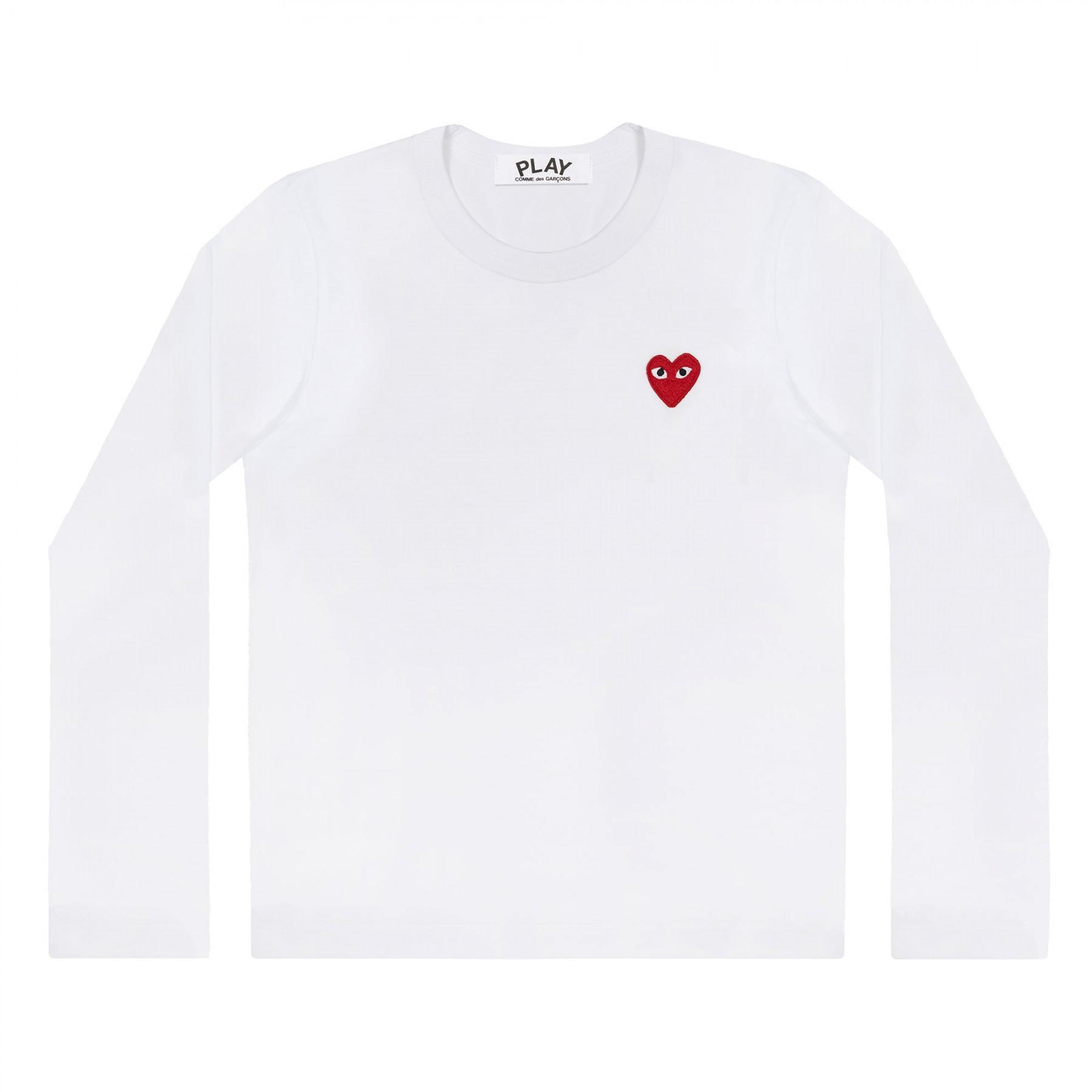 꼼데가르송 PLAY 화이트 티셔츠 원포인트 레드하트 (남성)