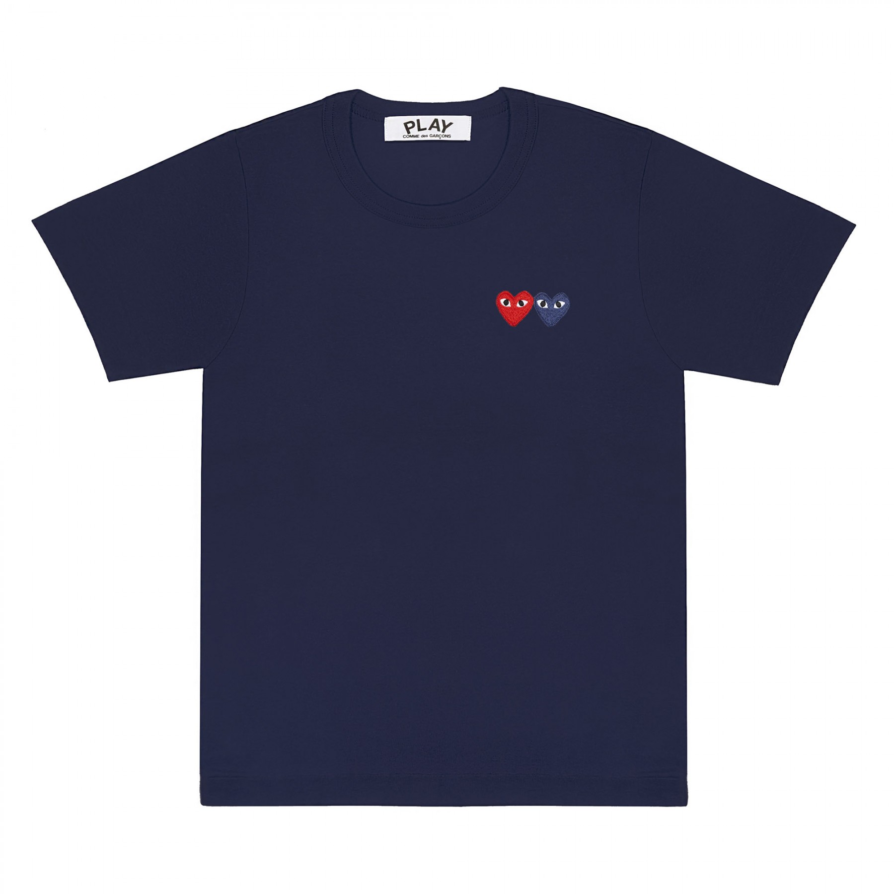 꼼데가르송 PLAY 네이비 티셔츠 원포인트 더블하트 (남성)