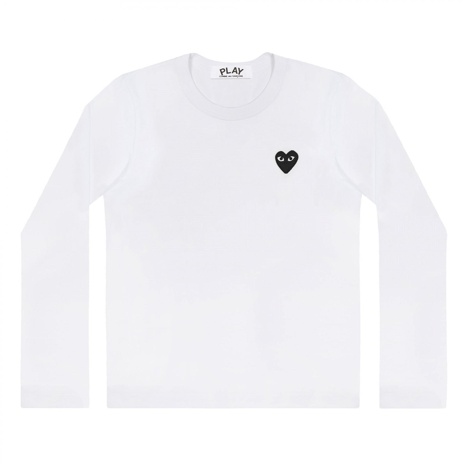 꼼데가르송 PLAY 화이트 티셔츠 원포인트 블랙하트 (남성)
