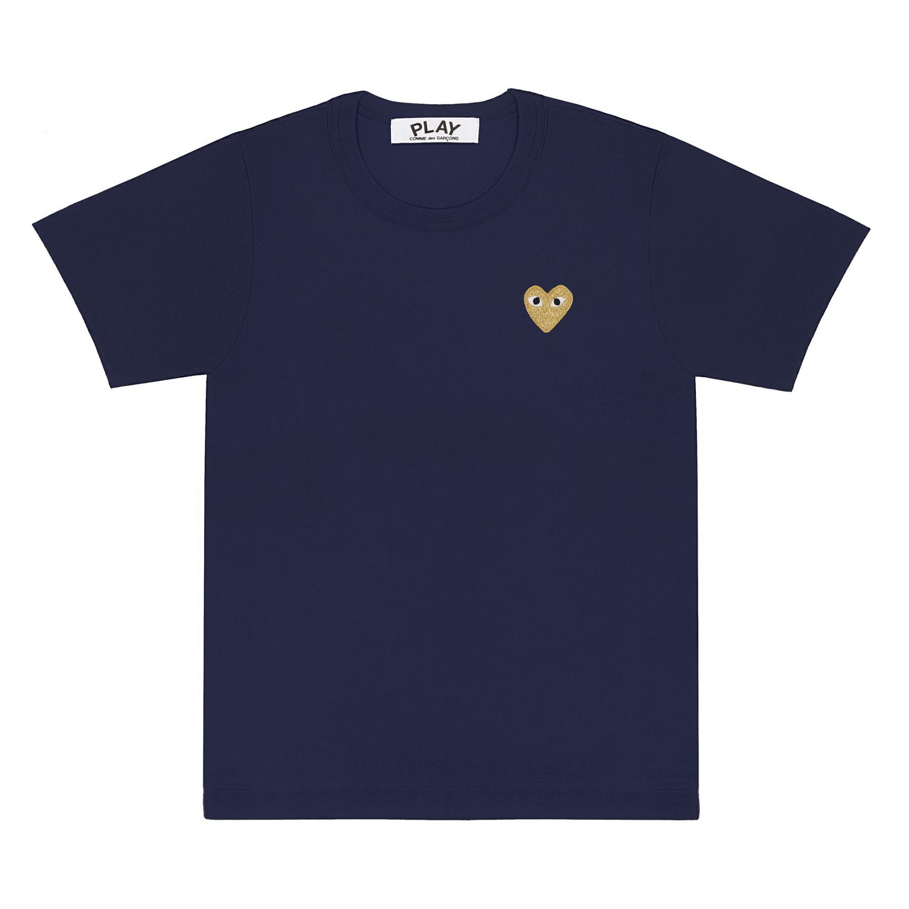 꼼데가르송 PLAY 네이비 티셔츠 원포인트 골드하트 (남성)