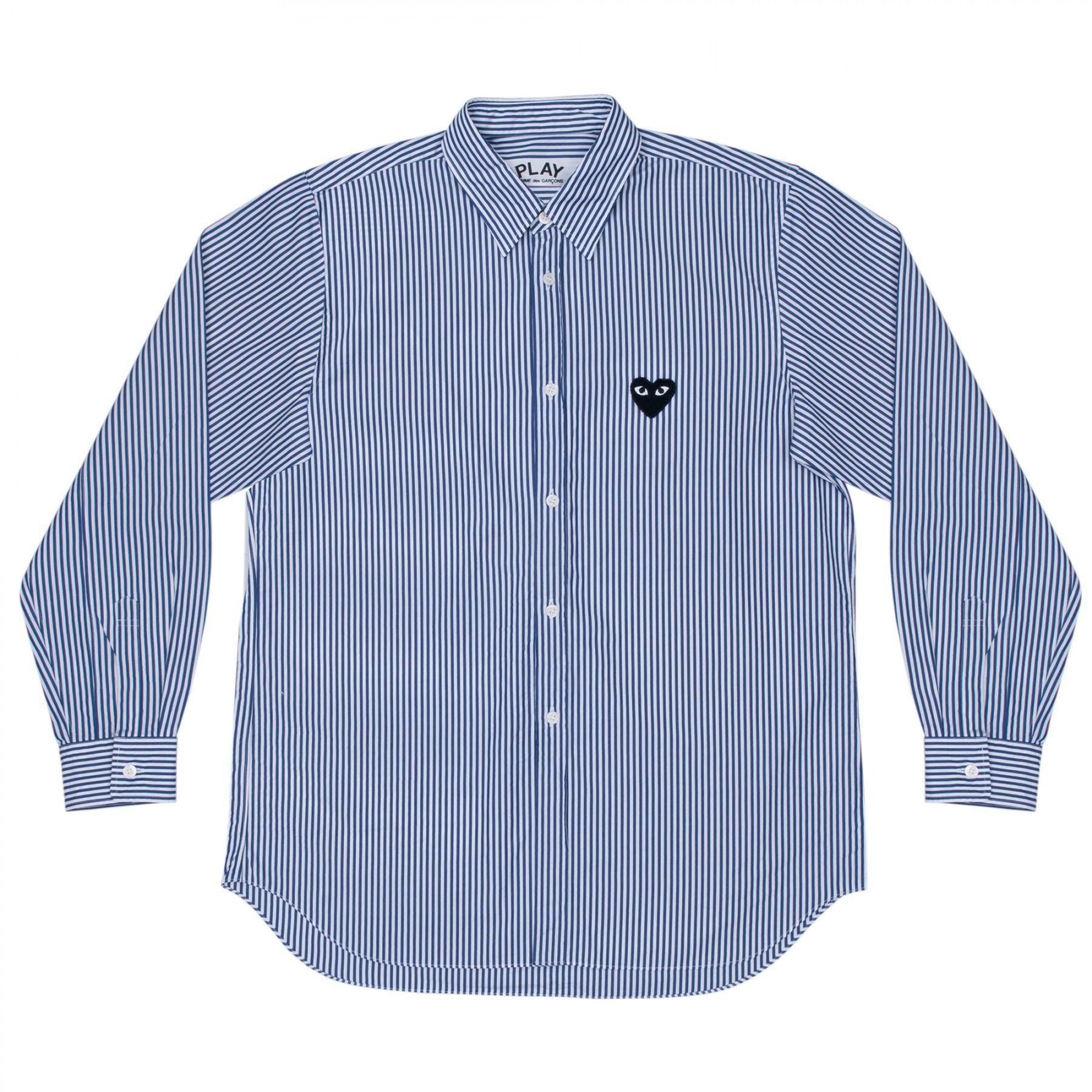 꼼데가르송 PLAY 스트라이프 패널 와이셔츠 (남성)