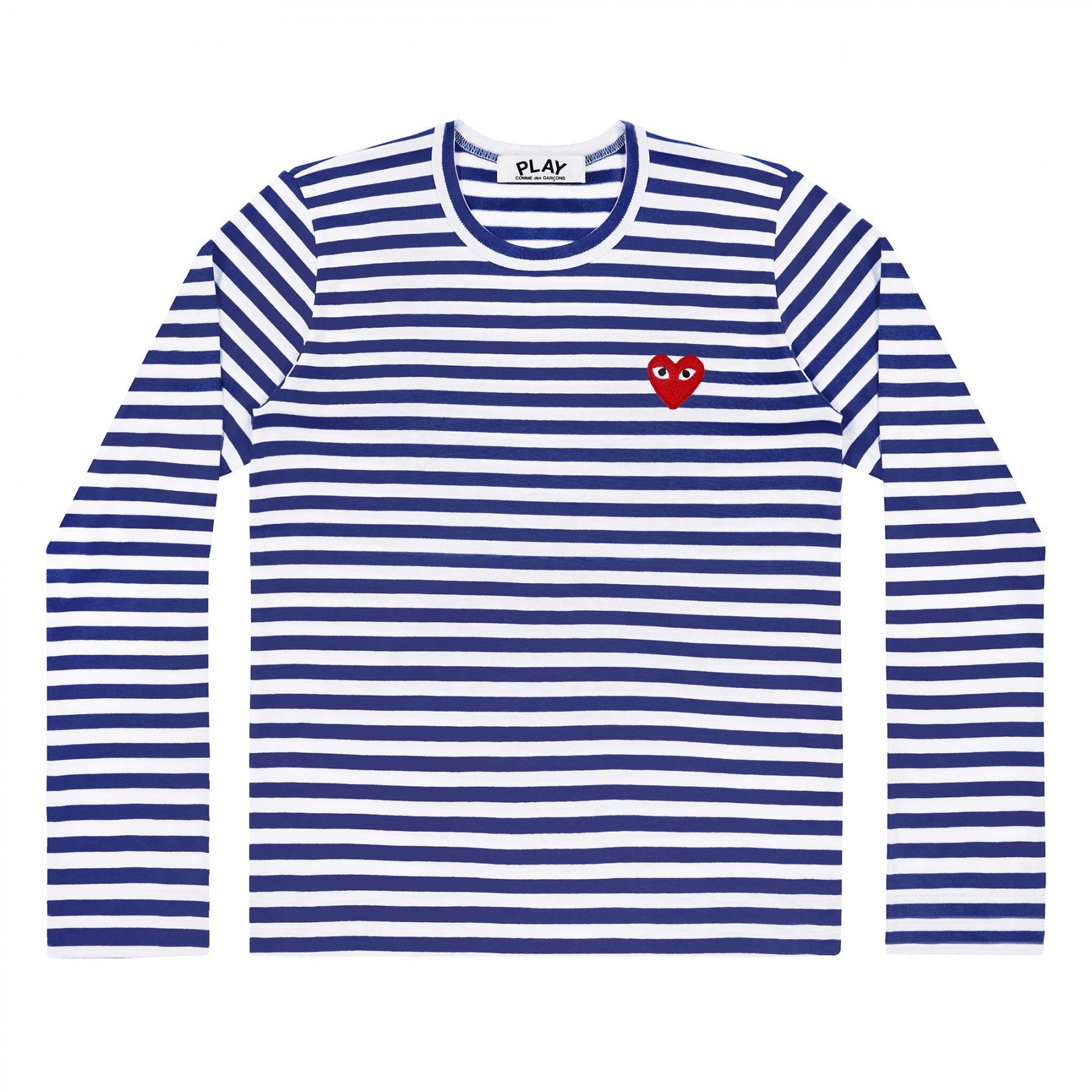 꼼데가르송 PLAY 스트라이프 티셔츠 레드하트 Navy+White (여성)