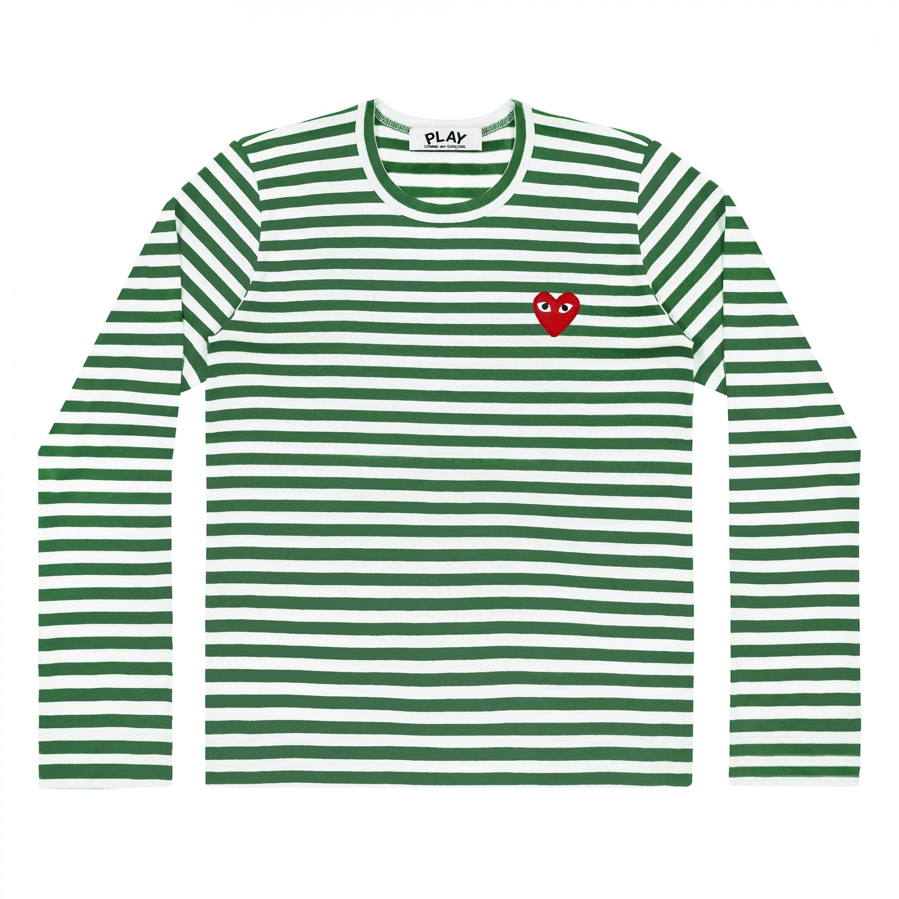 꼼데가르송 PLAY 스트라이프 티셔츠 레드하트 Green+White (여성)