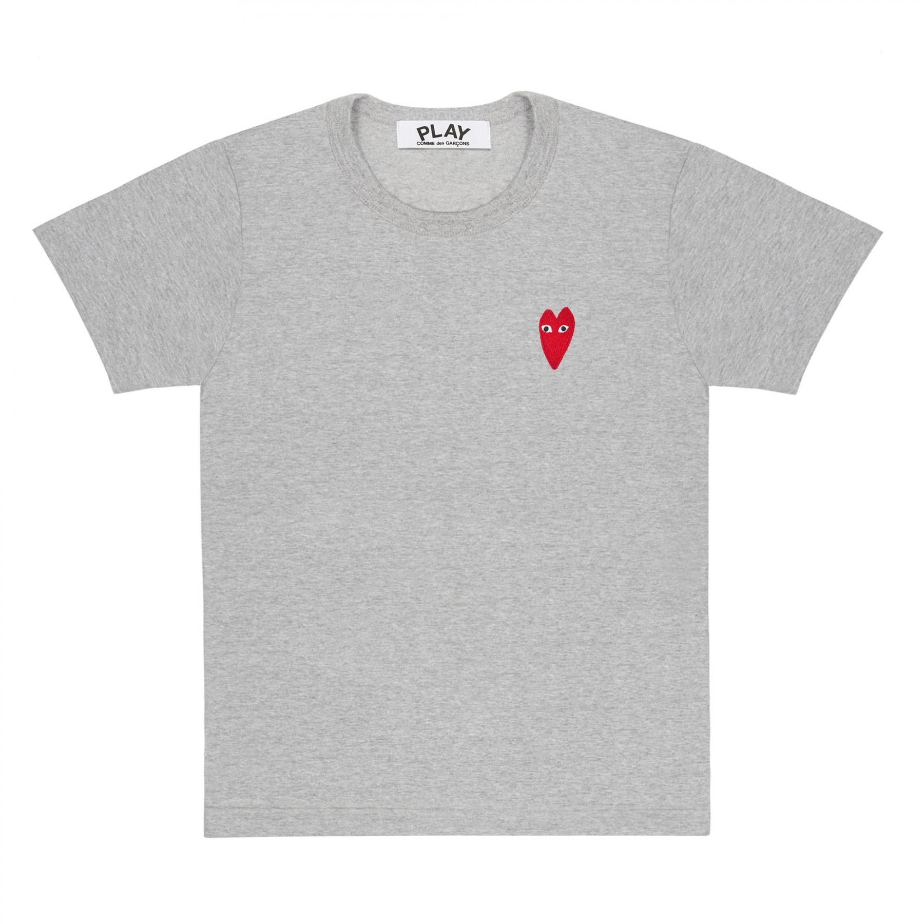 꼼데가르송 PLAY 그레이 티셔츠 원포인트 롱 레드하트 (여성)