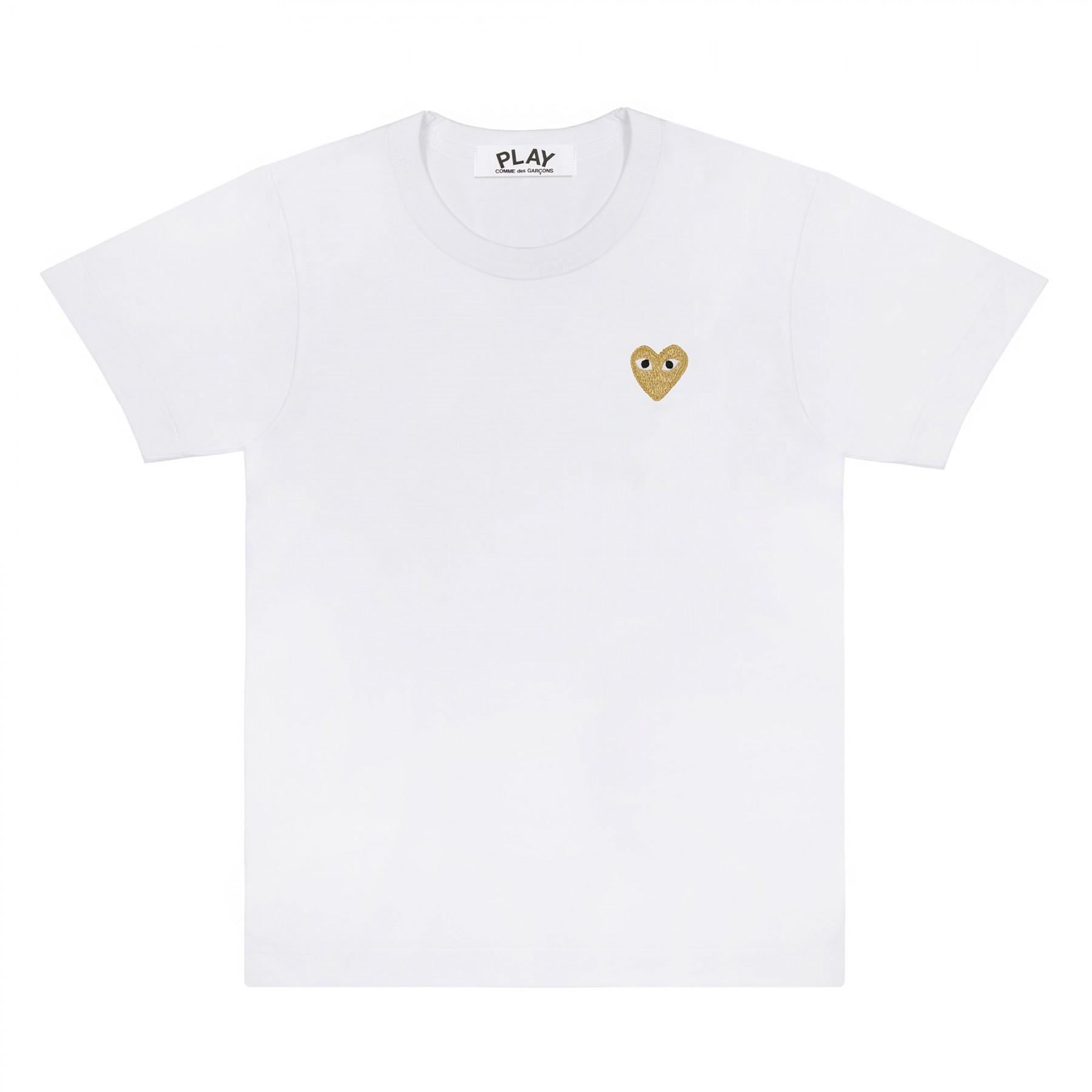 꼼데가르송 PLAY 화이트 티셔츠 원포인트 골드하트 (여성)
